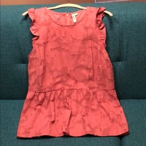 Ruffle accents & floral lace pink top from Kensie